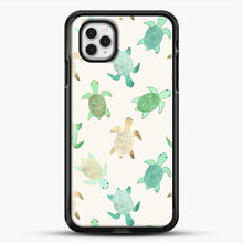 Load image into Gallery viewer, Gilded Jade And Mint Turtles iPhone 11 Pro Case, Black Rubber Case | JoeYellow.com
