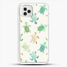 Load image into Gallery viewer, Gilded Jade And Mint Turtles iPhone 11 Pro Case, White Rubber Case | JoeYellow.com