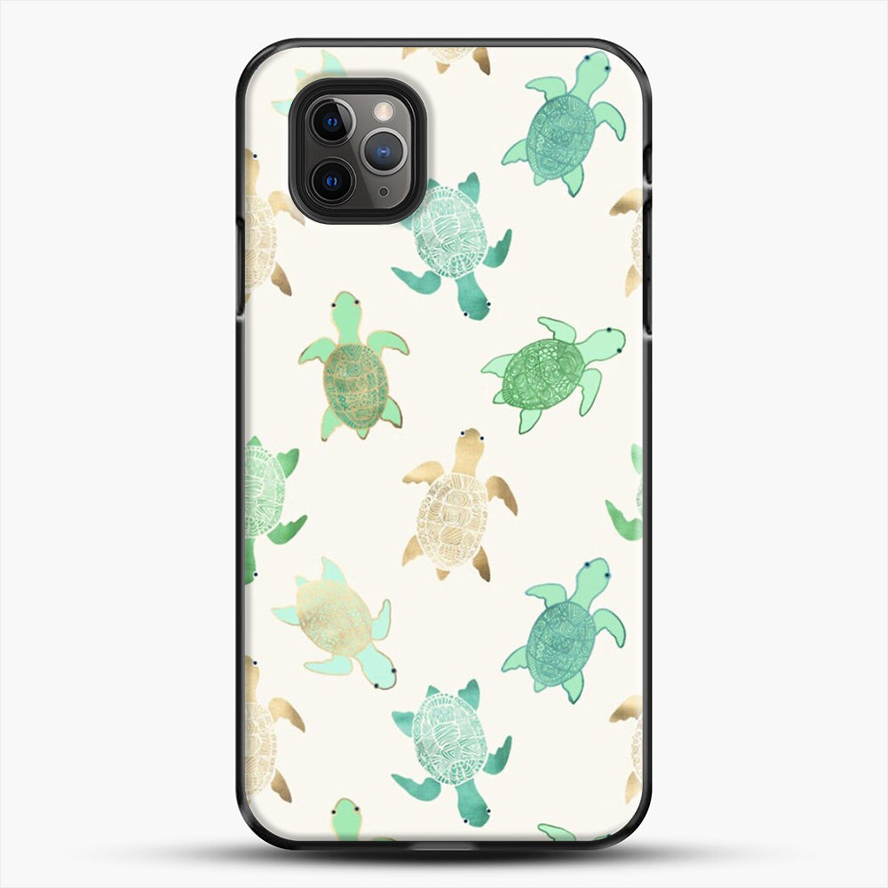 Gilded Jade And Mint Turtles iPhone 11 Pro Max Case, Black Plastic Case | JoeYellow.com