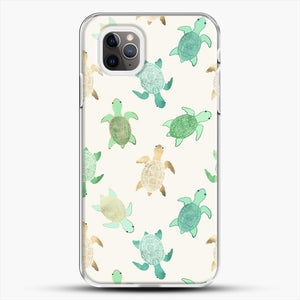 Gilded Jade And Mint Turtles iPhone 11 Pro Max Case, White Plastic Case | JoeYellow.com