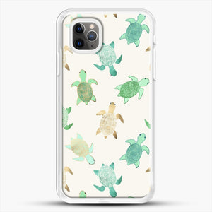 Gilded Jade And Mint Turtles iPhone 11 Pro Max Case, White Rubber Case | JoeYellow.com