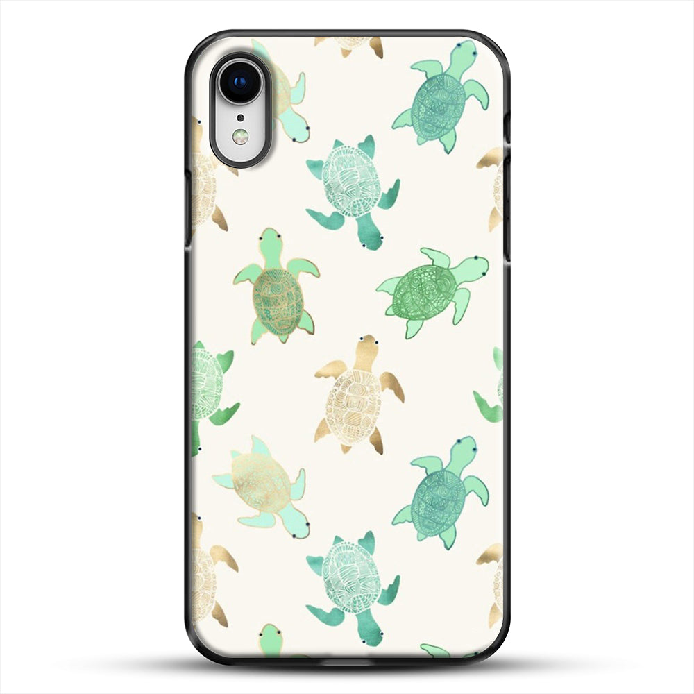 Gilded Jade And Mint Turtles iPhone XR Case, Black Plastic Case | JoeYellow.com