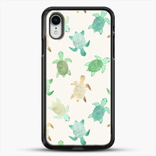 Load image into Gallery viewer, Gilded Jade And Mint Turtles iPhone XR Case, Black Rubber Case | JoeYellow.com