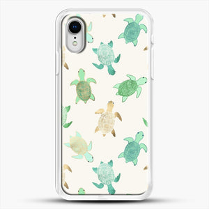 Gilded Jade And Mint Turtles iPhone XR Case, White Rubber Case | JoeYellow.com