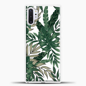 Green Leaves With White & Brown Flowers Pattern Samsung Galaxy Note 10 Plus Case