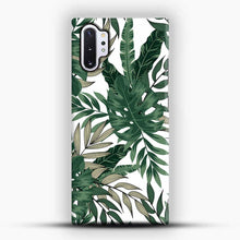 Load image into Gallery viewer, Green Leaves With White & Brown Flowers Pattern Samsung Galaxy Note 10 Plus Case