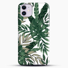 Load image into Gallery viewer, Green Leaves With White & Brown Flowers Pattern iPhone 11 Case
