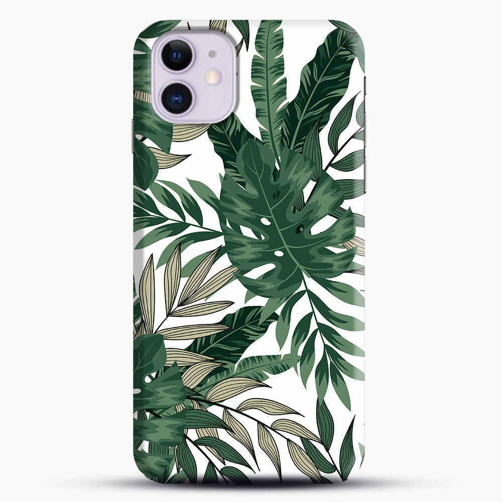 Green Leaves With White & Brown Flowers Pattern iPhone 11 Case