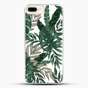 Green Leaves With White & Brown Flowers Pattern iPhone 8 Plus Case