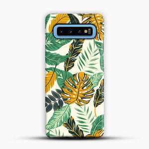 Green Leaves With Yellow & Green Flowers Tropical Pattern Samsung Galaxy S10 Case