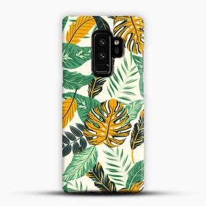 Green Leaves With Yellow & Green Flowers Tropical Pattern Samsung Galaxy S9 Plus Case
