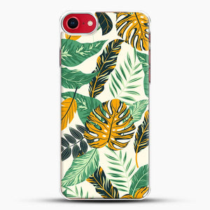 Green Leaves With Yellow & Green Flowers Tropical Pattern iPhone 8 Case