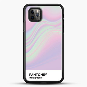 Hipab Holographic Iridescent Pantone Aesthetic Background iPhone 11 Pro Max Case, Black Rubber Case | JoeYellow.com