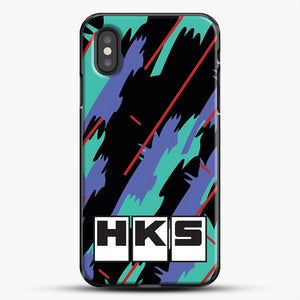 Hks Retro Pattern iPhone XS Case, Black Plastic Case | JoeYellow.com