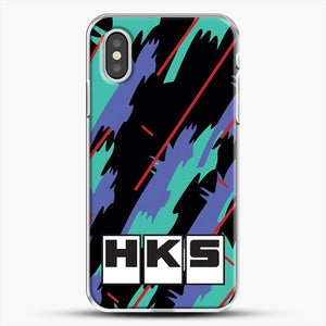 Hks Retro Pattern iPhone XS Case, White Plastic Case | JoeYellow.com