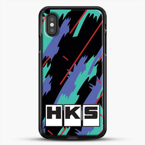 Hks Retro Pattern iPhone XS Case, Black Rubber Case | JoeYellow.com