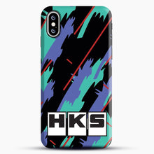 Load image into Gallery viewer, Hks Retro Pattern iPhone XS Case, Black Snap 3D Case | JoeYellow.com