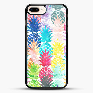 Hawaiian Pineapple Pattern Tropical Watercolor iPhone 8 Plus Case, Black Rubber Case | JoeYellow.com