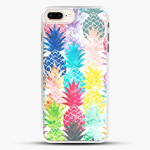 Hawaiian Pineapple Pattern Tropical Watercolor iPhone 8 Plus Case, White Rubber Case | JoeYellow.com