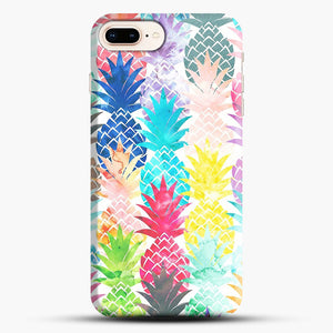 Hawaiian Pineapple Pattern Tropical Watercolor iPhone 8 Plus Case, Black Snap 3D Case | JoeYellow.com