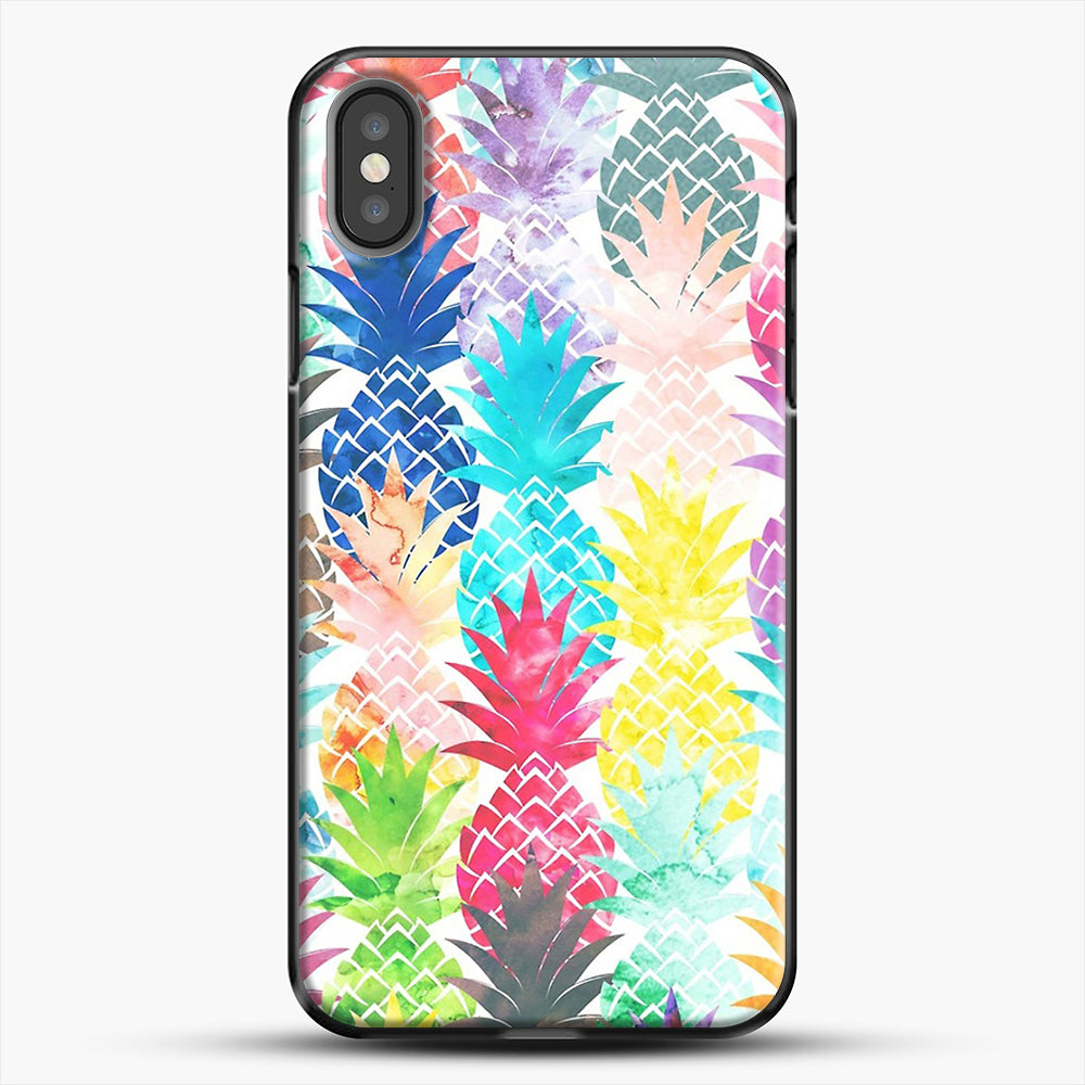 Hawaiian Pineapple Pattern Tropical Watercolor iPhone X Case, Black Plastic Case | JoeYellow.com
