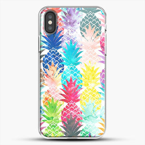 Hawaiian Pineapple Pattern Tropical Watercolor iPhone X Case, White Plastic Case | JoeYellow.com