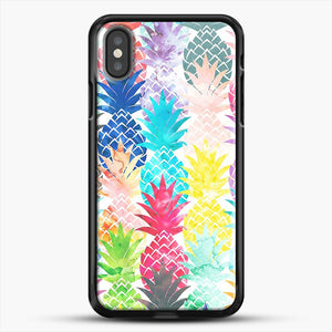 Hawaiian Pineapple Pattern Tropical Watercolor iPhone X Case, Black Rubber Case | JoeYellow.com