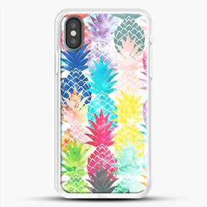 Hawaiian Pineapple Pattern Tropical Watercolor iPhone X Case, White Rubber Case | JoeYellow.com