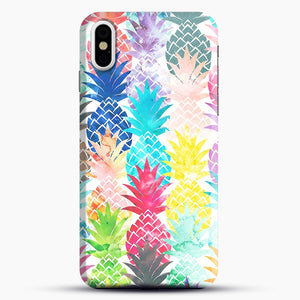 Hawaiian Pineapple Pattern Tropical Watercolor iPhone X Case, Black Snap 3D Case | JoeYellow.com