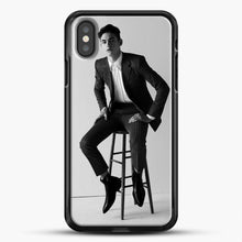 Load image into Gallery viewer, Hero Fiennes Tiffin Am Sitting iPhone X Case, Black Rubber Case | JoeYellow.com