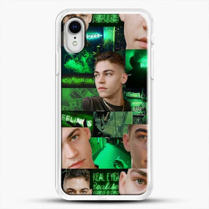Hero Fiennes Tiffin Green Scene iPhone XR Case, White Rubber Case | JoeYellow.com