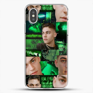 Hero Fiennes Tiffin Green Scene iPhone XS Case, White Plastic Case | JoeYellow.com