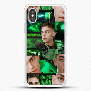 Hero Fiennes Tiffin Green Scene iPhone XS Case, White Rubber Case | JoeYellow.com