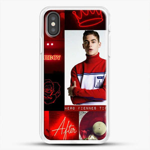 Hero Fiennes Tiffin In Red iPhone X Case, White Rubber Case | JoeYellow.com