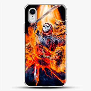 Horror Collection Jason Goes To Hell iPhone XR Case, White Plastic Case | JoeYellow.com