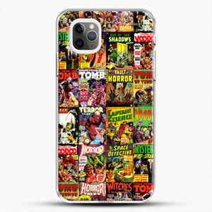 Horror Comic Collection Creepy Collage iPhone 11 Pro Max Case, White Plastic Case | JoeYellow.com