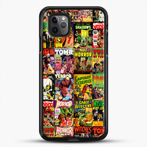 Horror Comic Collection Creepy Collage iPhone 11 Pro Max Case, Black Rubber Case | JoeYellow.com