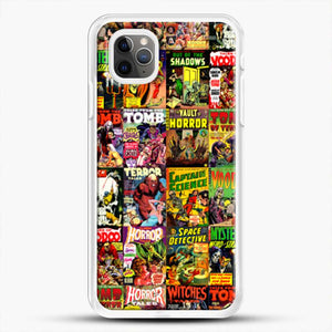 Horror Comic Collection Creepy Collage iPhone 11 Pro Max Case, White Rubber Case | JoeYellow.com