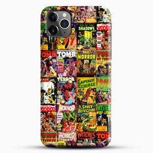 Horror Comic Collection Creepy Collage iPhone 11 Pro Max Case, Black Snap 3D Case | JoeYellow.com