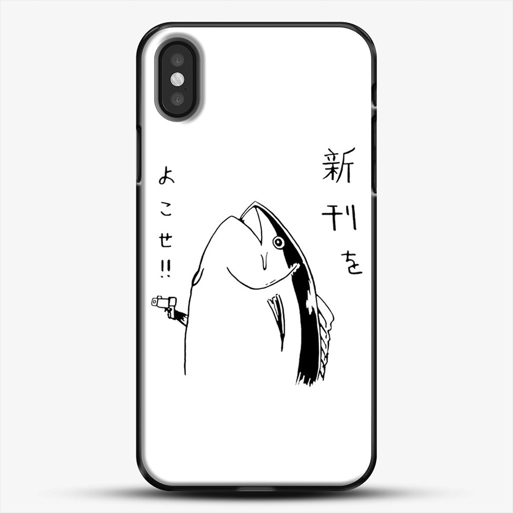 Japanese Fish Hold Up iPhone X Case, Black Plastic Case | JoeYellow.com