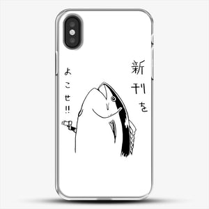 Japanese Fish Hold Up iPhone X Case, White Plastic Case | JoeYellow.com
