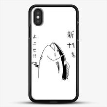 Load image into Gallery viewer, Japanese Fish Hold Up iPhone X Case, Black Rubber Case | JoeYellow.com