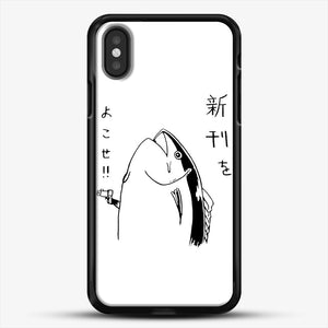 Japanese Fish Hold Up iPhone X Case, Black Rubber Case | JoeYellow.com