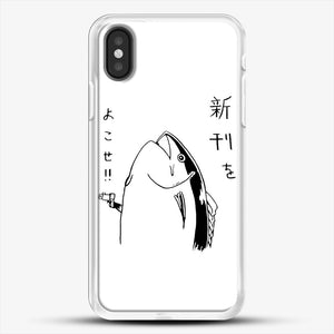 Japanese Fish Hold Up iPhone X Case, White Rubber Case | JoeYellow.com