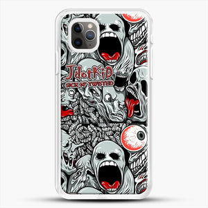 Jdotkid Sick N Twisted Design iPhone 11 Pro Max Case, White Rubber Case | JoeYellow.com