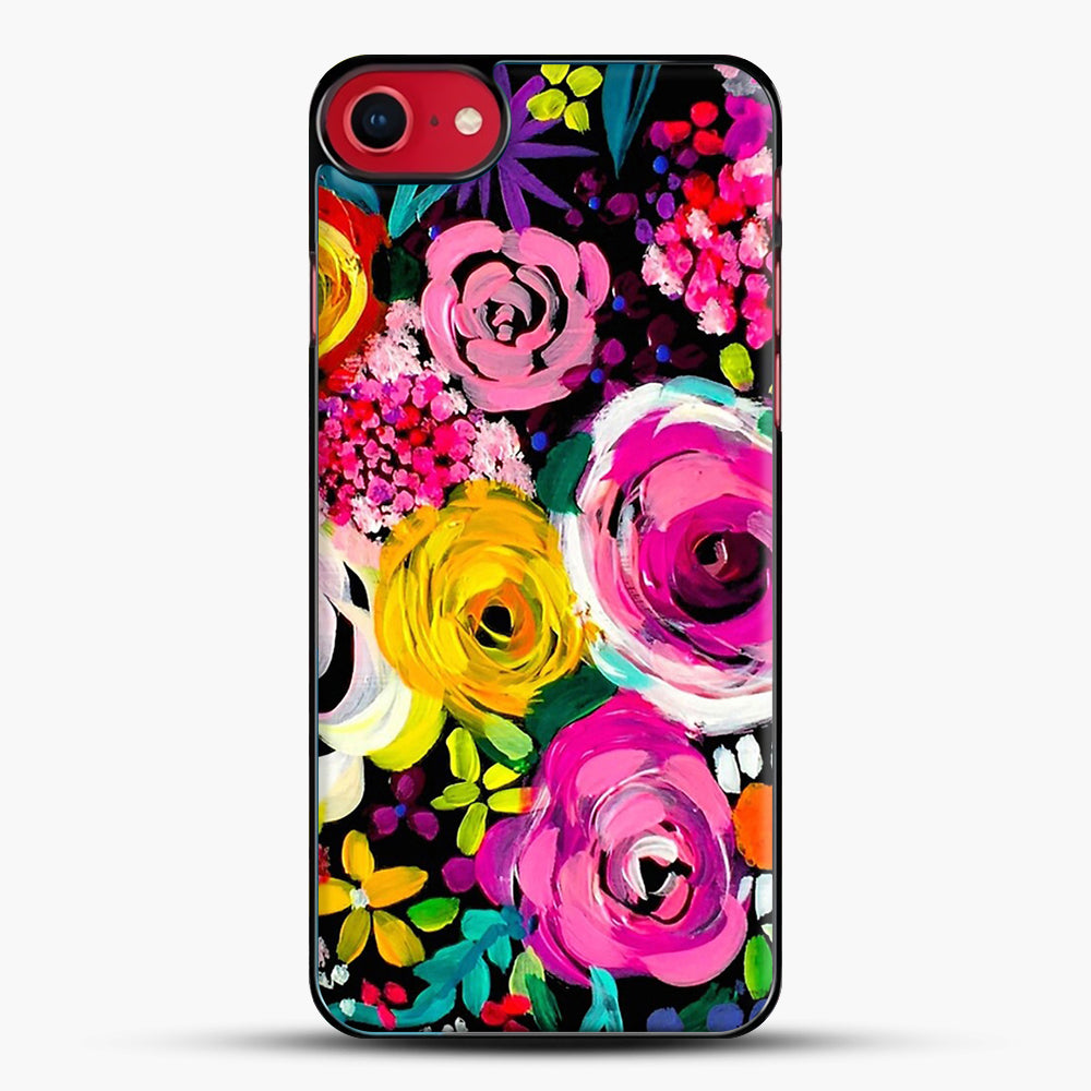 Les Fleurs Vibrant Floral Painting Print iPhone 7 Case, Black Plastic Case | JoeYellow.com