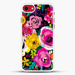 Les Fleurs Vibrant Floral Painting Print iPhone 7 Case, White Rubber Case | JoeYellow.com