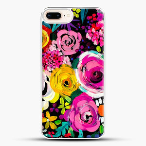 Les Fleurs Vibrant Floral Painting Print iPhone 7 Plus Case, White Plastic Case | JoeYellow.com