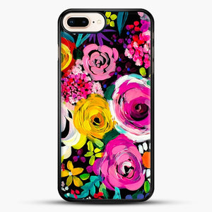 Les Fleurs Vibrant Floral Painting Print iPhone 7 Plus Case, Black Rubber Case | JoeYellow.com