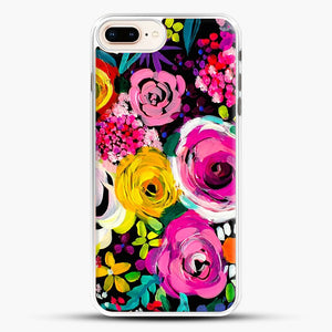 Les Fleurs Vibrant Floral Painting Print iPhone 7 Plus Case, White Rubber Case | JoeYellow.com